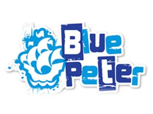 On set with Blue Peter